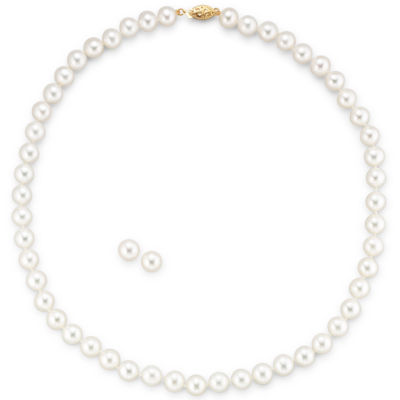 Cultured Freshwater Pearl Necklace & Earring Set 14K Gold