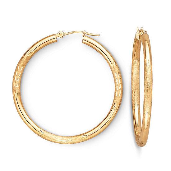Gold Hoop Earrings, 38mm 10K