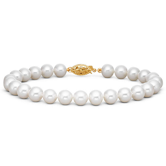 7-7.5mm Cultured Freshwater Pearl Bracelet 14K
