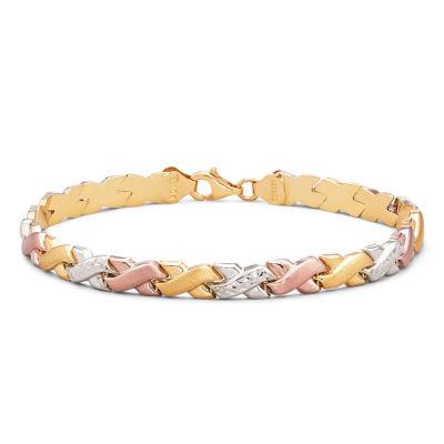 """Tri-Color 10K Gold 8"""" Stampato Link Bracelet"""
