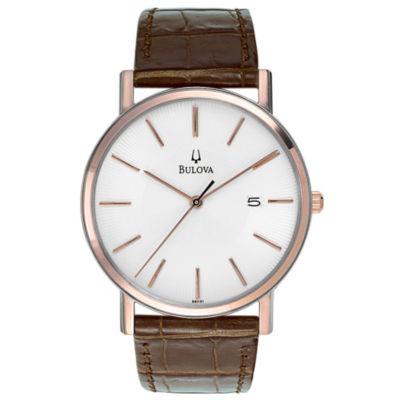 Bulova Mens Brown Strap Watch-98h51