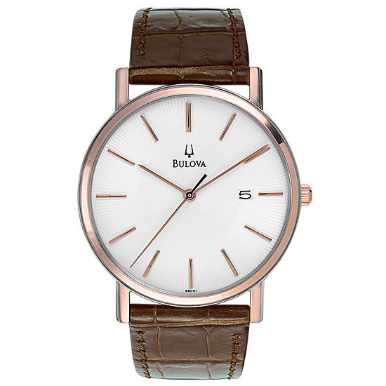 Bulova Classic Mens Brown Leather Strap Watch-98h51