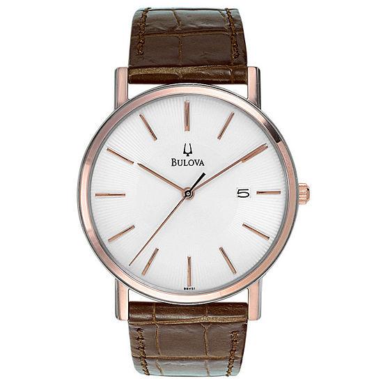 Bulova Mens Brown Strap Watch 98h51