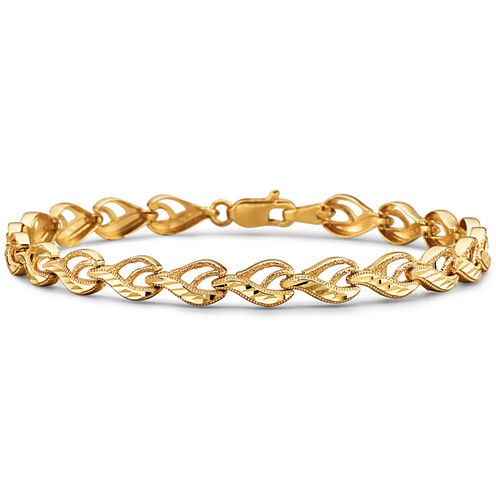 10K Yellow Gold Diamond-Cut 4.55mm Link Bracelet