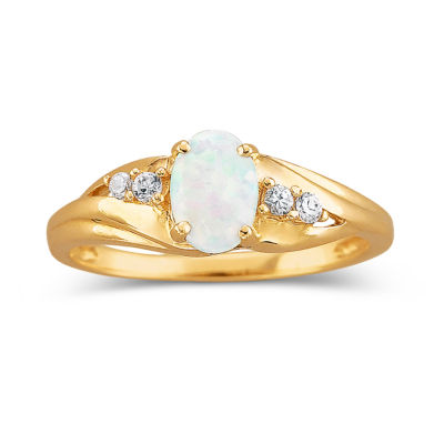 10K Gold Lab-Created Opal & CZ Ring