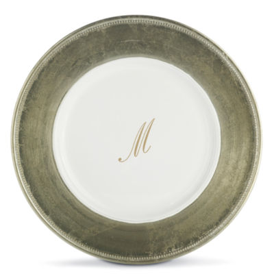 Monogrammed Set of 8 Gold-Trim Chargers