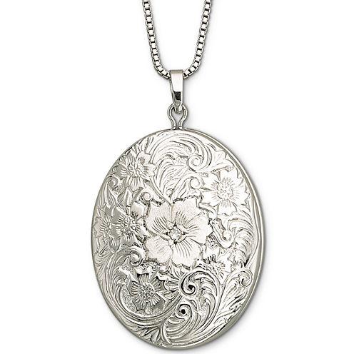 Sterling Silver Floral Frame Locket