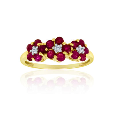 10K Gold Ruby & Diamond-Accent Ring