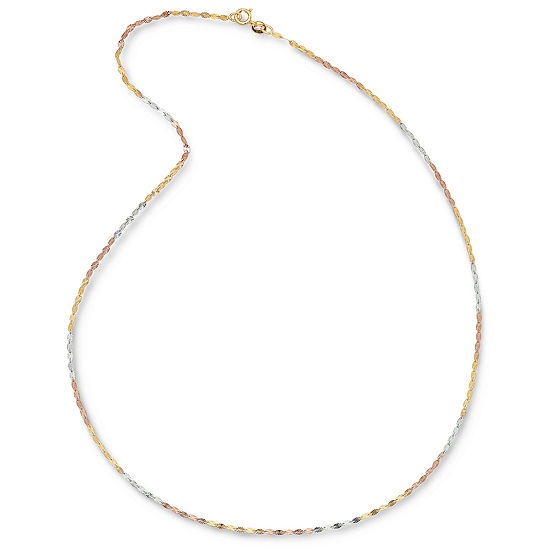"Tri-Color 14K Gold Diamond-Cut 18"" 3.9mm Link Chain Necklace"