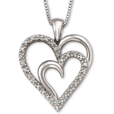 1/10 CT. T.W. Diamond Heart Pendant Necklace Sterling Silver