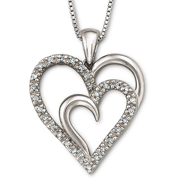 110 ct tw diamond heart pendant necklace sterling silver tw diamond heart pendant necklace sterling silver mozeypictures Images