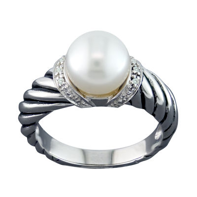 Womens Diamond Accent White Sterling Silver Cocktail Ring