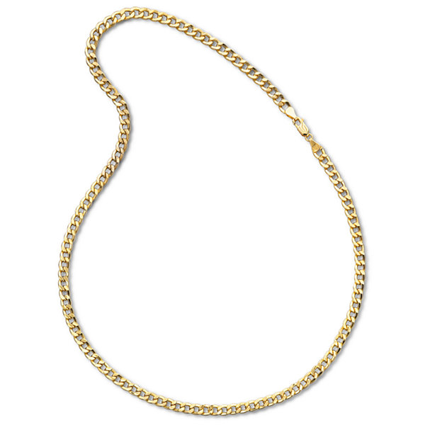 "Mens 10K Yellow Gold 22"" 6mm Semi-Solid Curb Chain Necklace"