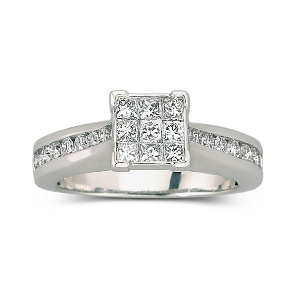 T W Diamond Engagement Ring 10k White Gold