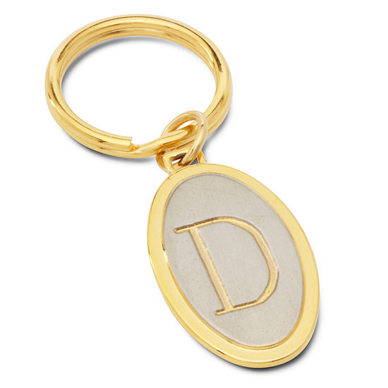 Engravable Two Tone Oval Key Chain