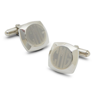 Engravable Cushion Silver-Plated Cufflinks