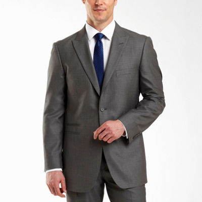 JF J. Ferrar® 2–Button Gray Sharkskin Suit Jacket–Big & Tall