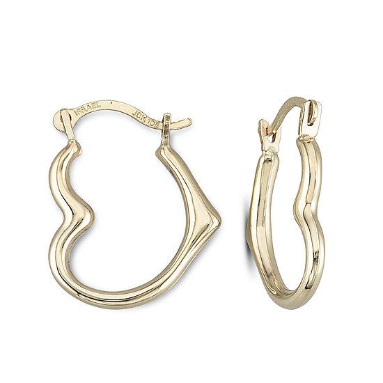 10K Gold 15mm Heart-Shaped Hoop Earrings