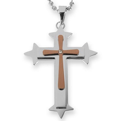 Mens Diamond-Accent Cross Pendant Necklace