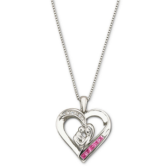 Lab-Created Pink Sapphire Mother's Heart Pendant Necklace