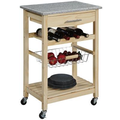 Kitchen Cart, Granite Top Cart W/ Wine Rack