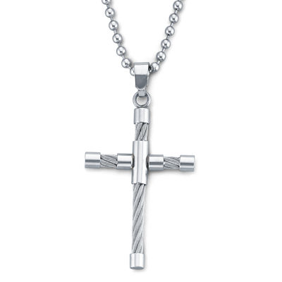 Mens Cable Cross Pendant Necklace