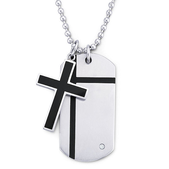 Mens Cross Dog Tag Pendant Necklace