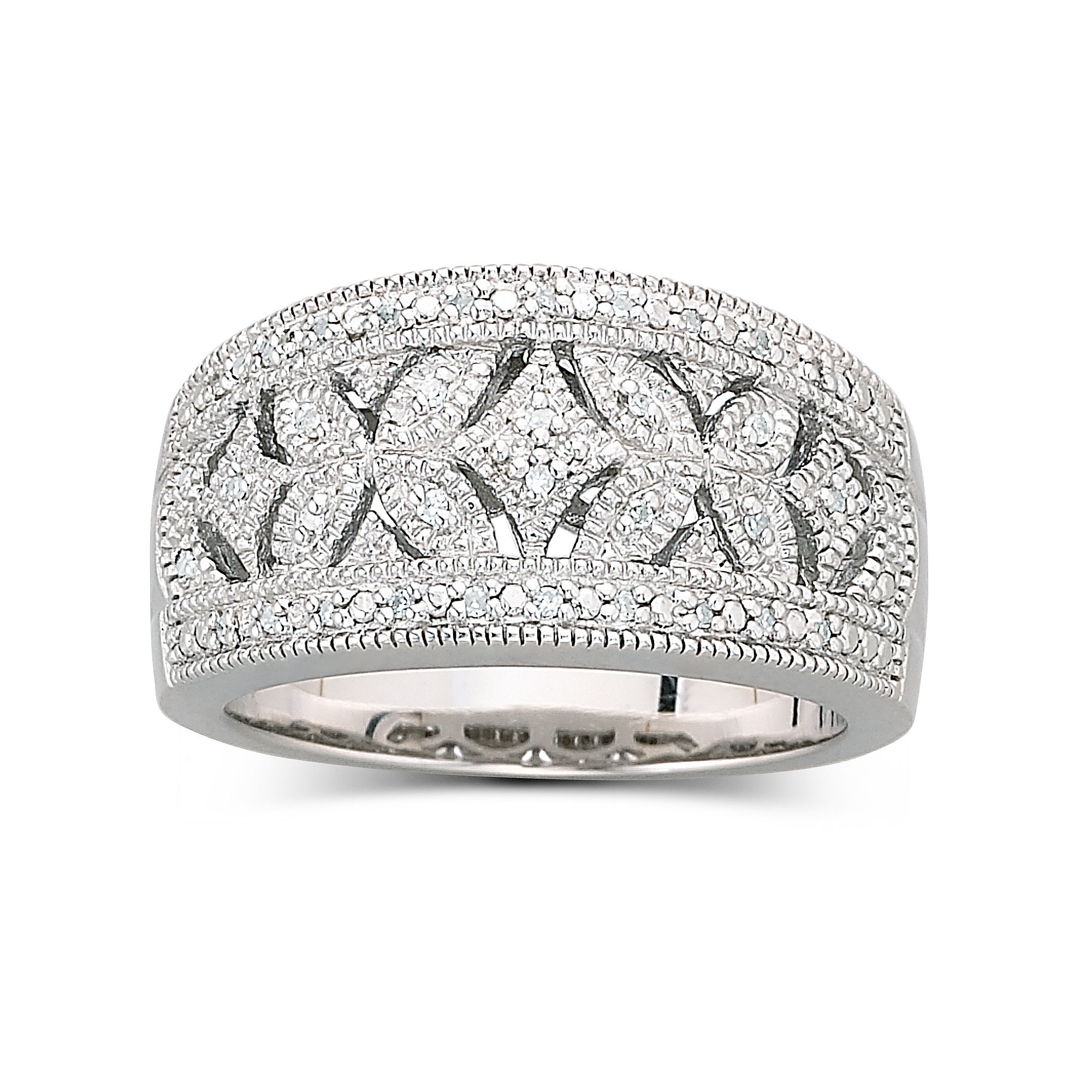 Vintage Inspirations™ 1/10 CT. T.W. Diamond Vintage Ring Sterling Silver plus size,  plus size fashion plus size appare