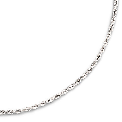 """14K White Gold 18-24"""" 2.5mm Hollow Rope Chain Necklace"""