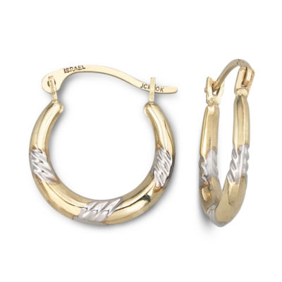 Two-Tone 10K Gold Hoop Earrings