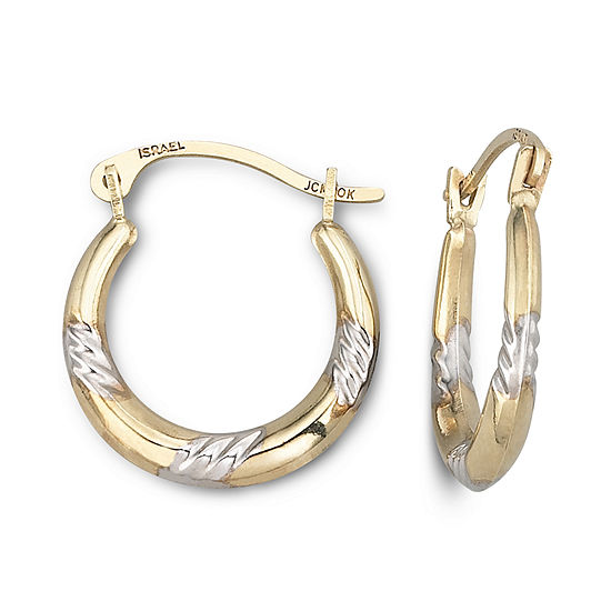 Two-Tone 10K Gold Hoop Earrings