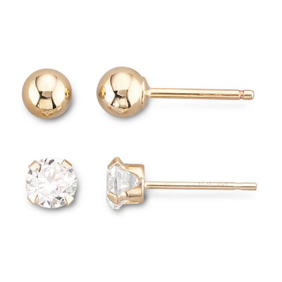 10K Yellow Gold Ball & Cubic Zirconia Stud Earring Set