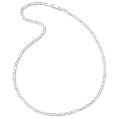 "Made in Italy Silver 24"" 3.2mm Figaro Chain"