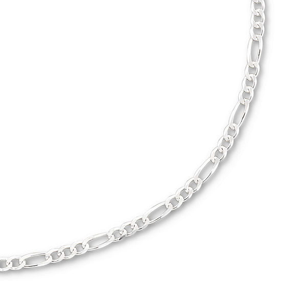 Made in Italy Sterling Silver Solid Figaro Chain Necklace