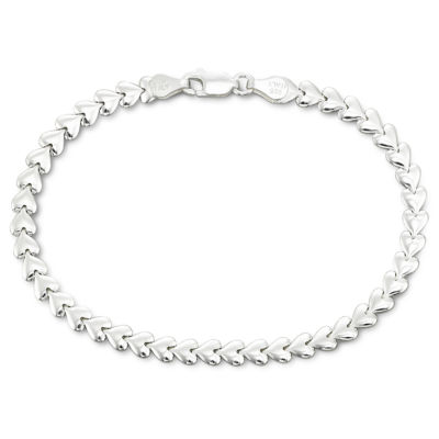 "Made in Italy Silver 7.5"" 4.5mm Heart Bracelet"