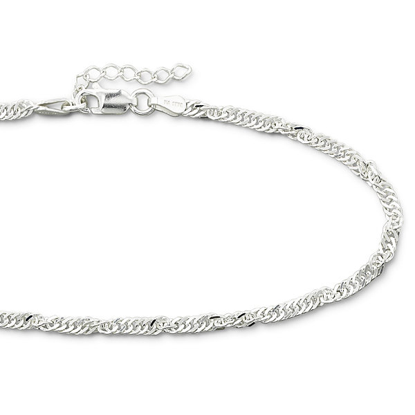"Made in Italy Sterling Silver 10"" 2.9mm Singapore Ankle Bracelet"