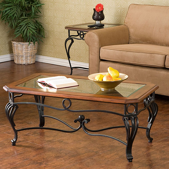 "Trellise Glass Top 42"" Rectangular Coffee Table"