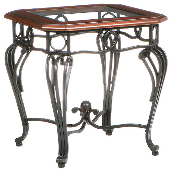 "Trellise Glass Top 23"" Square End Table"