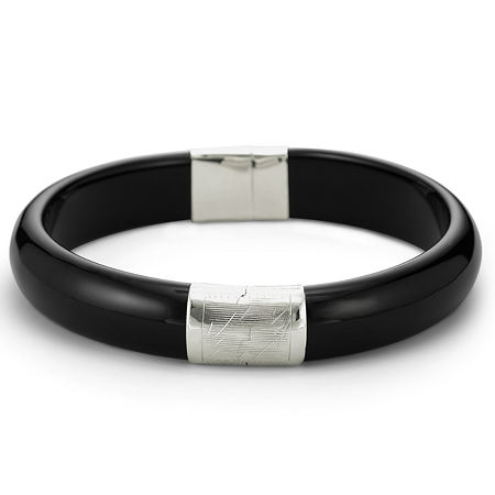 Genuine Onyx Bangle Sterling Silver, One Size , White