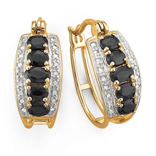 18K Gold over Silver Genuine Sapphire Hoop Earrings