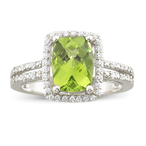 Genuine Peridot & White Topaz Sterling Silver Ring