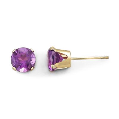 Genuine Purple Amethyst 10K Gold Stud Earrings