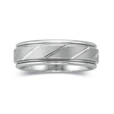 Mens 7mm Tungsten Carbide Comfort Fit Wedding Band