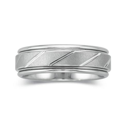 Mens 7mm Tungsten Carbide Comfort Fit Wedding Band