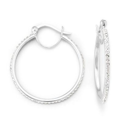 Crystal Earrings, Silver Hoop Earrings