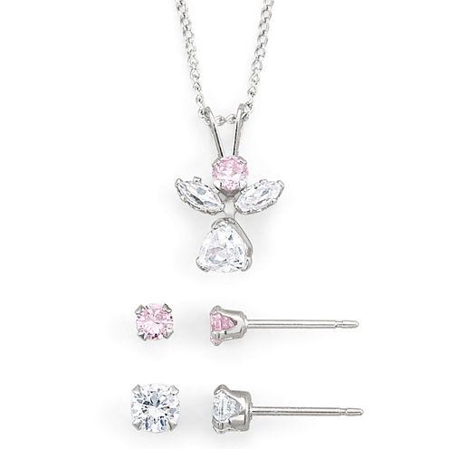 Girls Pink & White Cubic Zirconia Angel Jewelry Set