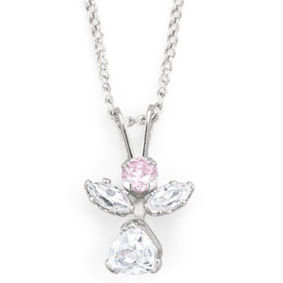 Girls Pink & White Cubic Zirconia Angel Jewelry Set
