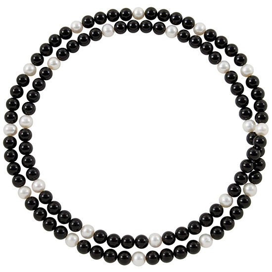 Genuine Onyx & Cultured Freshwater Pearl Necklace