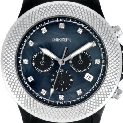 Elgin® Womens Black Crystal Chronograph Watch