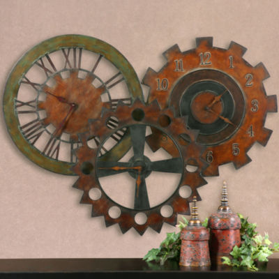 "Oversized 38.75"" Rusty Parts Wall Clock"